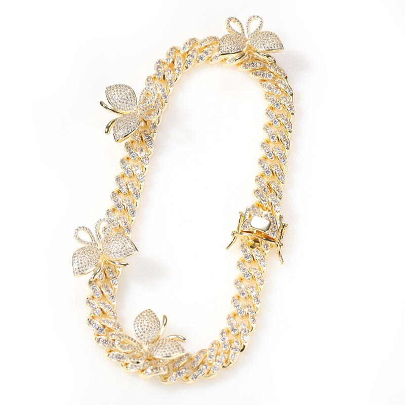 Zircon Cuban Chain Butterfly Necklace For Men And Women, Butterfly Collarbone Chain Popular Jewelry