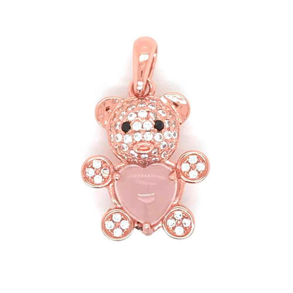 Cz Bear Silver Pendant , Mama Rose Gold Bear Pendant, Wholesale Diamond Heart Stone Bear Necklace
