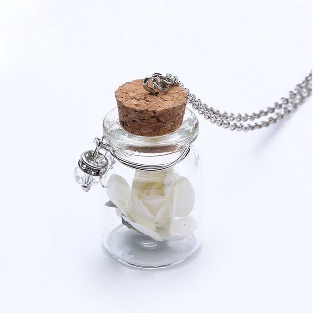 Glass Bottle Custom Women Pendant Jewelry Fashion Real Rose Necklace