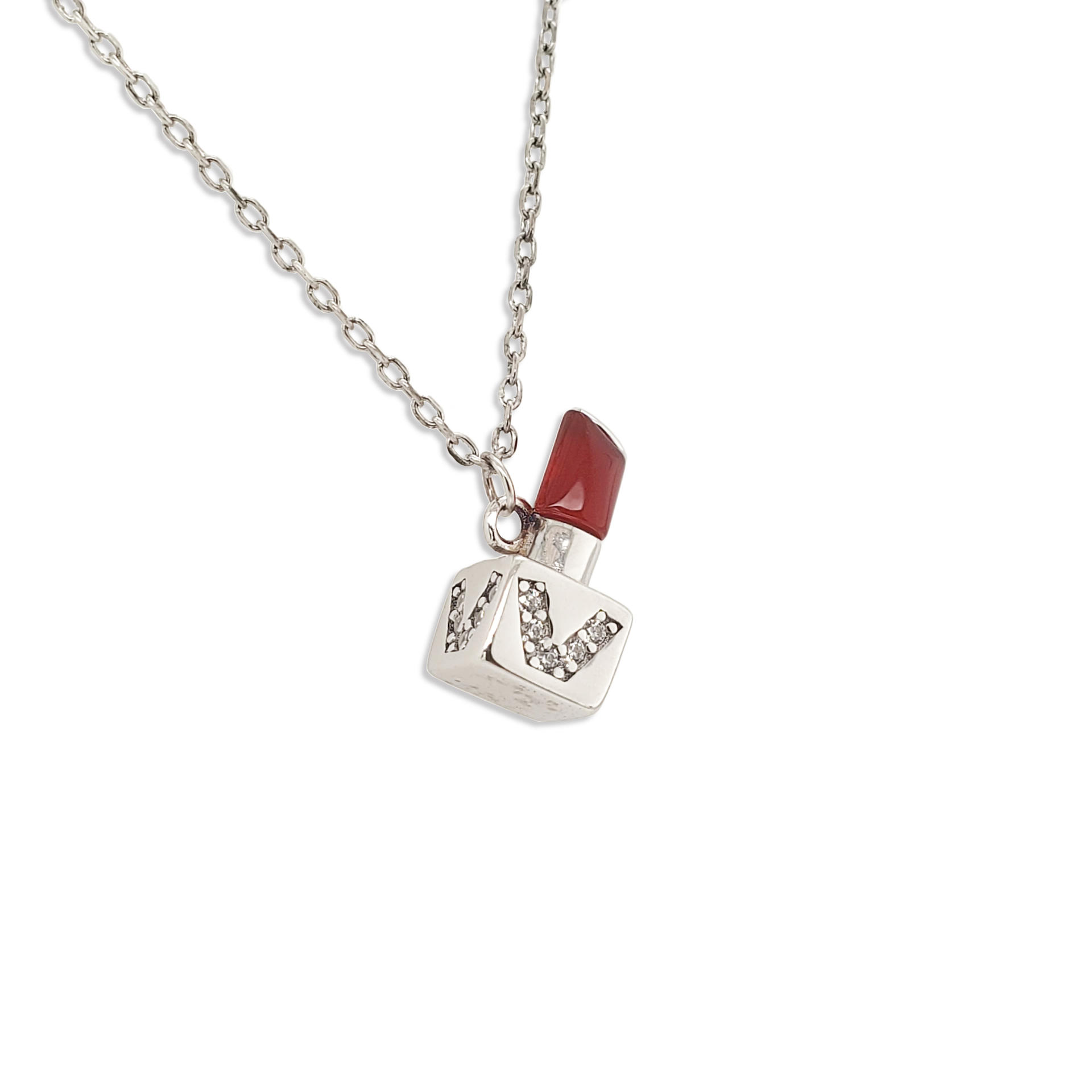 Shiny Cz Setting V Alphabet Silver Lipstick Shape Pendant Wholesale Necklace