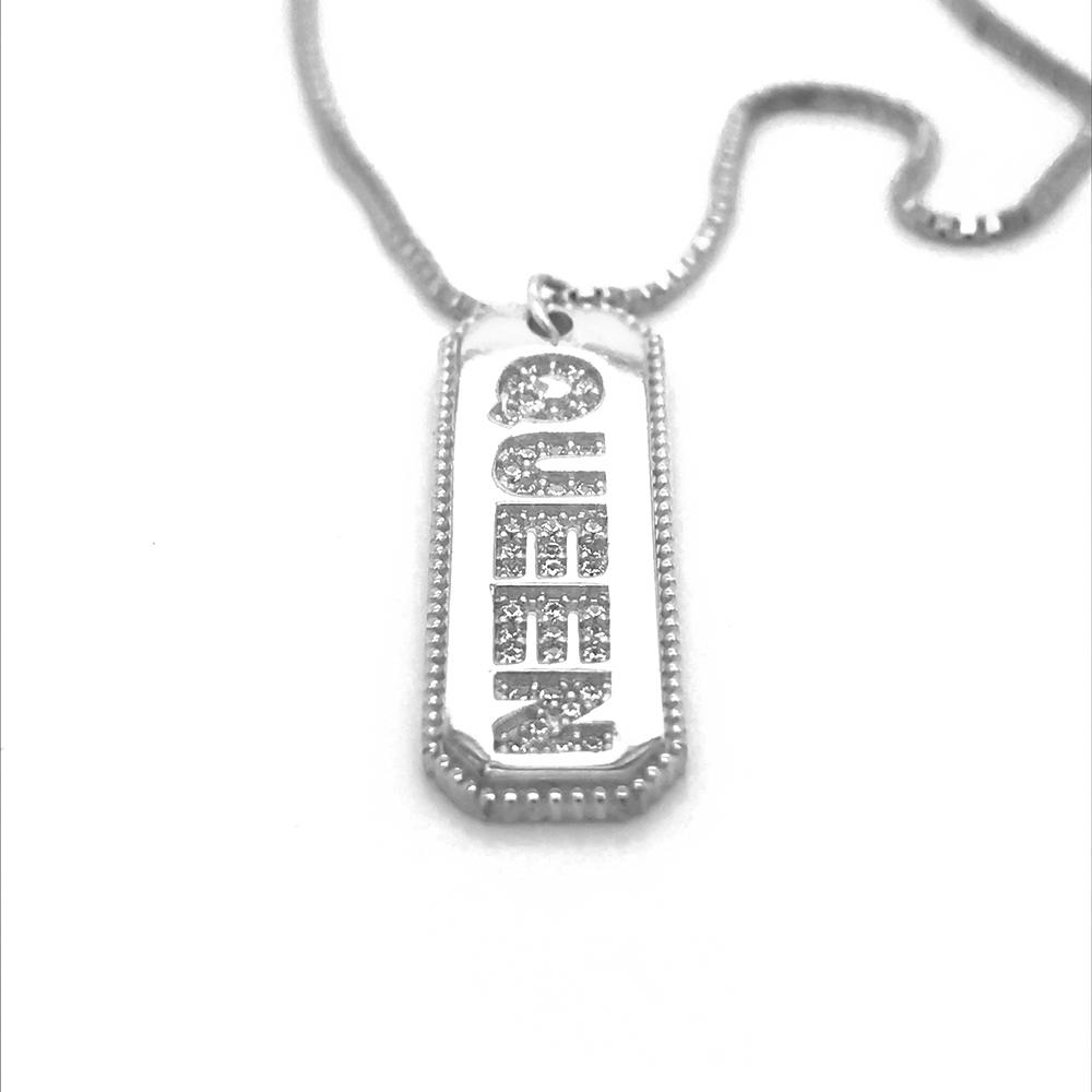 New Fashion Cz Filled Queen Design Nameplate 925 Silver Alphabet Necklace