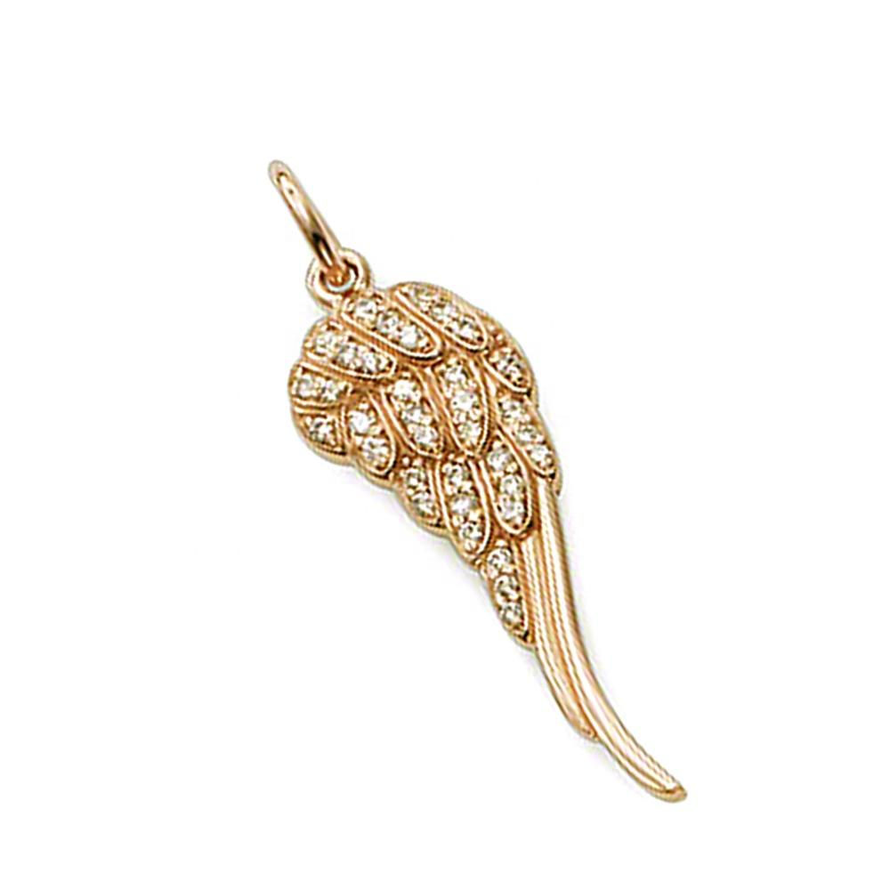 AAA cz feathers filled wing rose gold plated jewellery