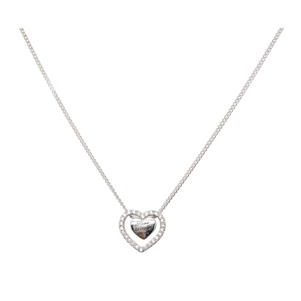 product-Love Is Only You Letter Engraved Heart In A Hollow Heart Design Necklace-BEYALY-img-1
