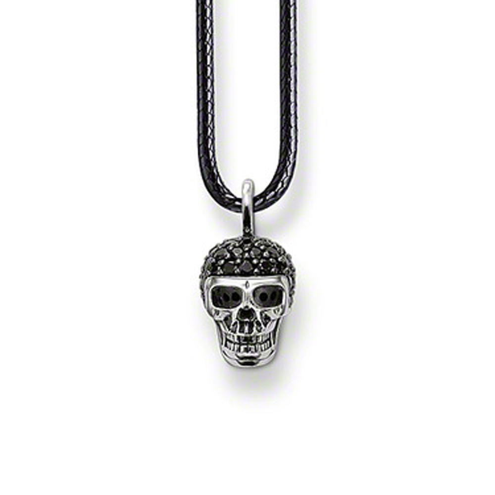 Dignified shiny skull carved 925 sterling silver men chain
