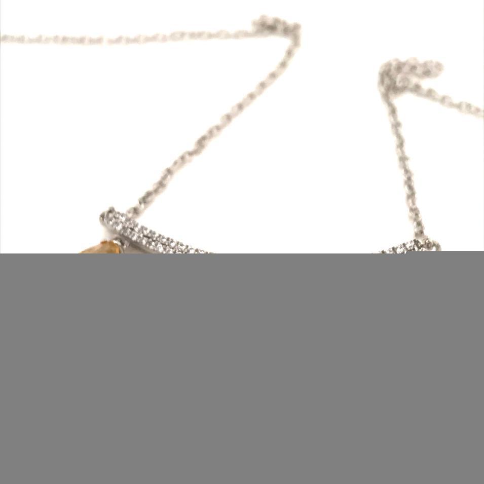 Five Yellow Amber Waterdrop Design Silver Bijou Pendant Statement Necklace