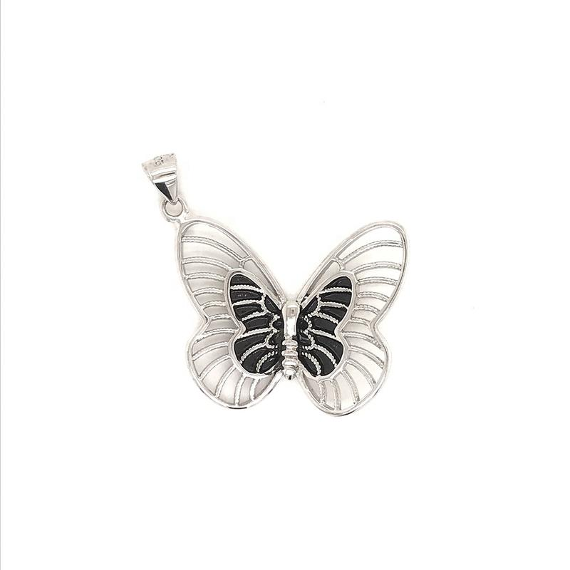925 Sterling Silver Cz Charm Pendant, White Gold Butterfly Crystal Beads Necklace Pendant, Diamond Butterfly Necklace