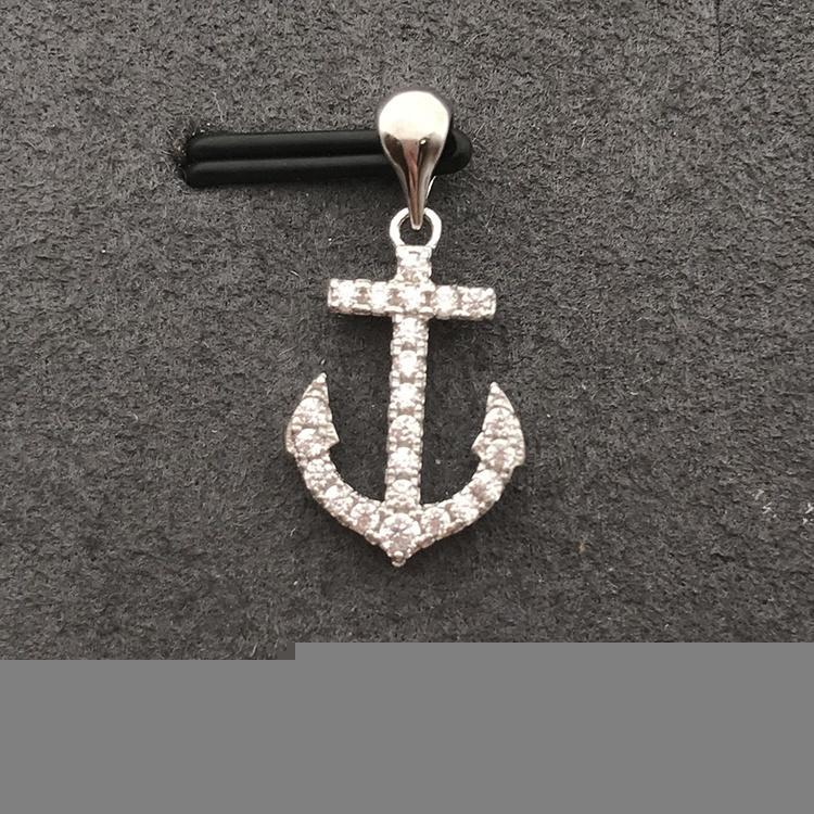 Luxury Cubic Zirconia Necklace Anchor Charm Jewelry China, Gold Anchor Pendant Cubic Zirconia Necklace Set