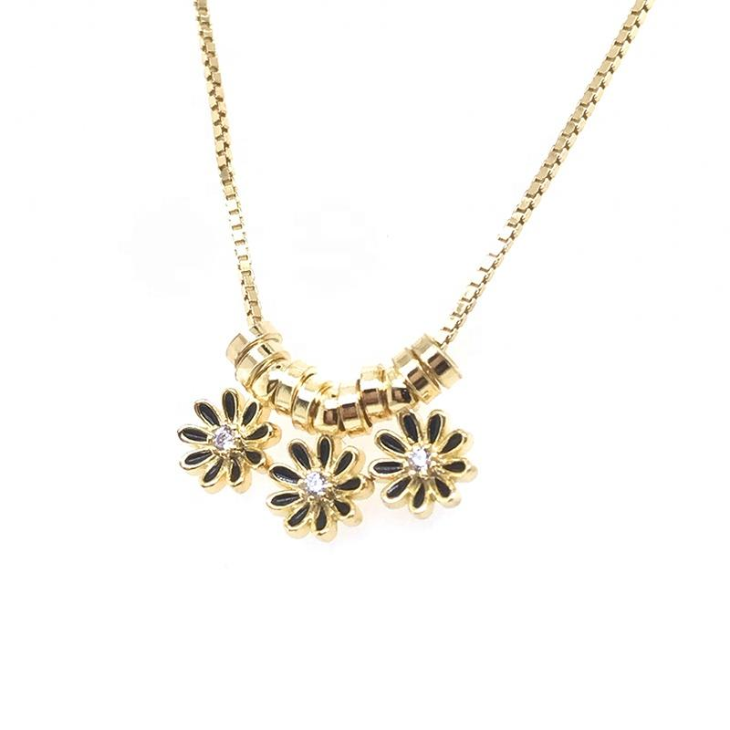 Gold Flower Design Silver Jewelry Necklace Making Supplies