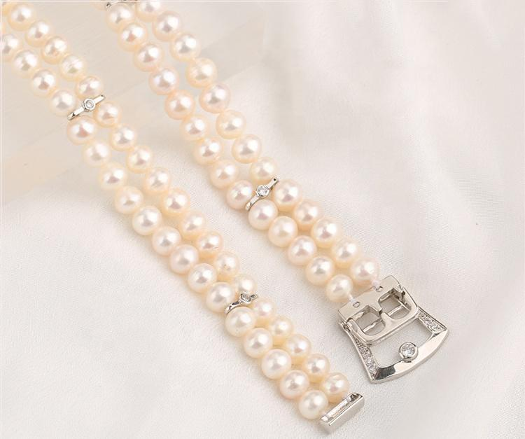Graceful Women's Fresh Water Pearl Chain Necklace, Freshwater Double String Pearl Necklace Clavicle Chain Girls