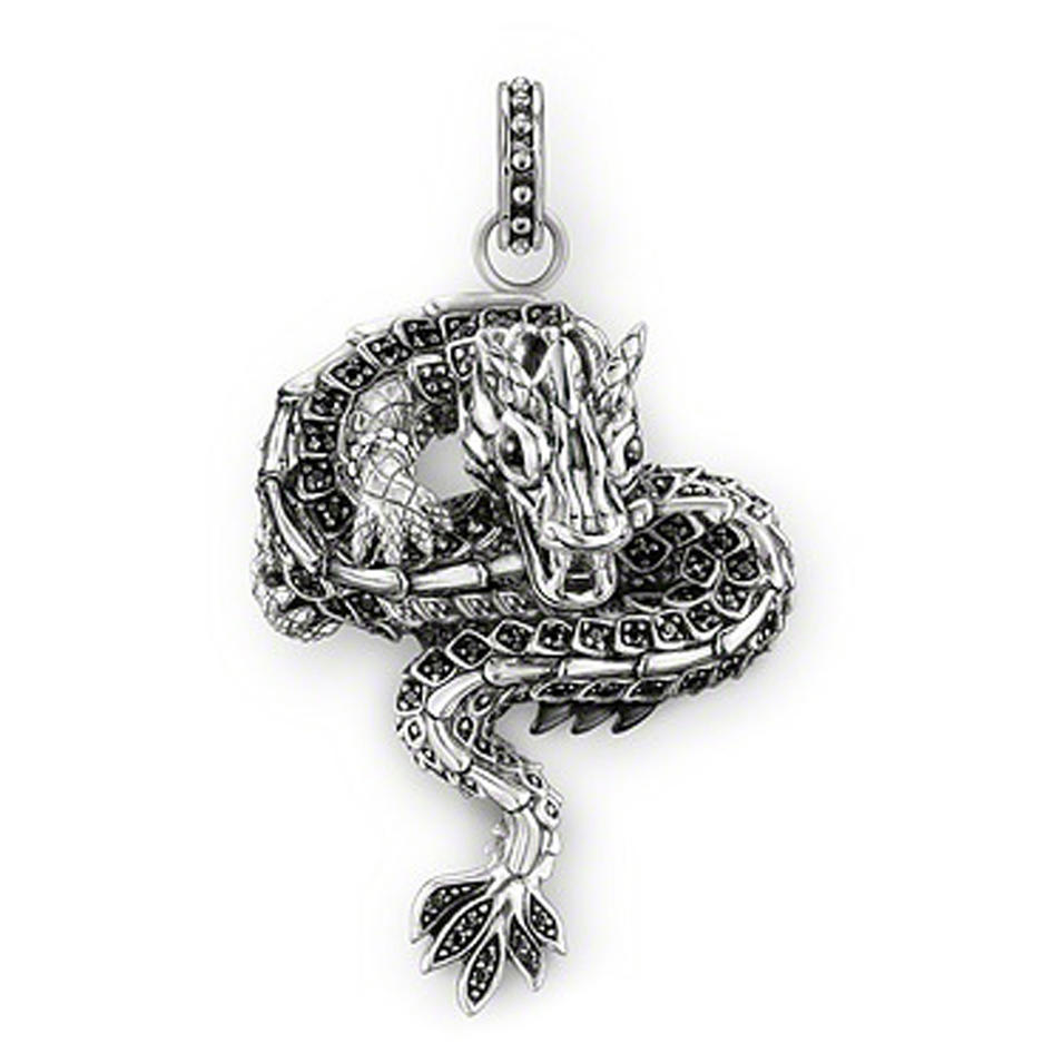 Black painting dragon engraved silver state charm necklace