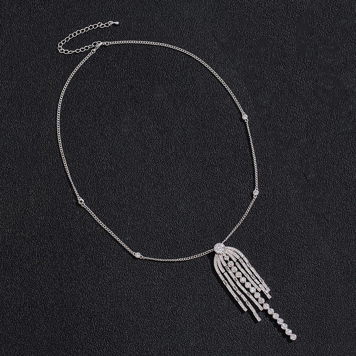 Long Cubic Zircon Fringed Elegant Silver Necklace Accessory Jewelry For Lady