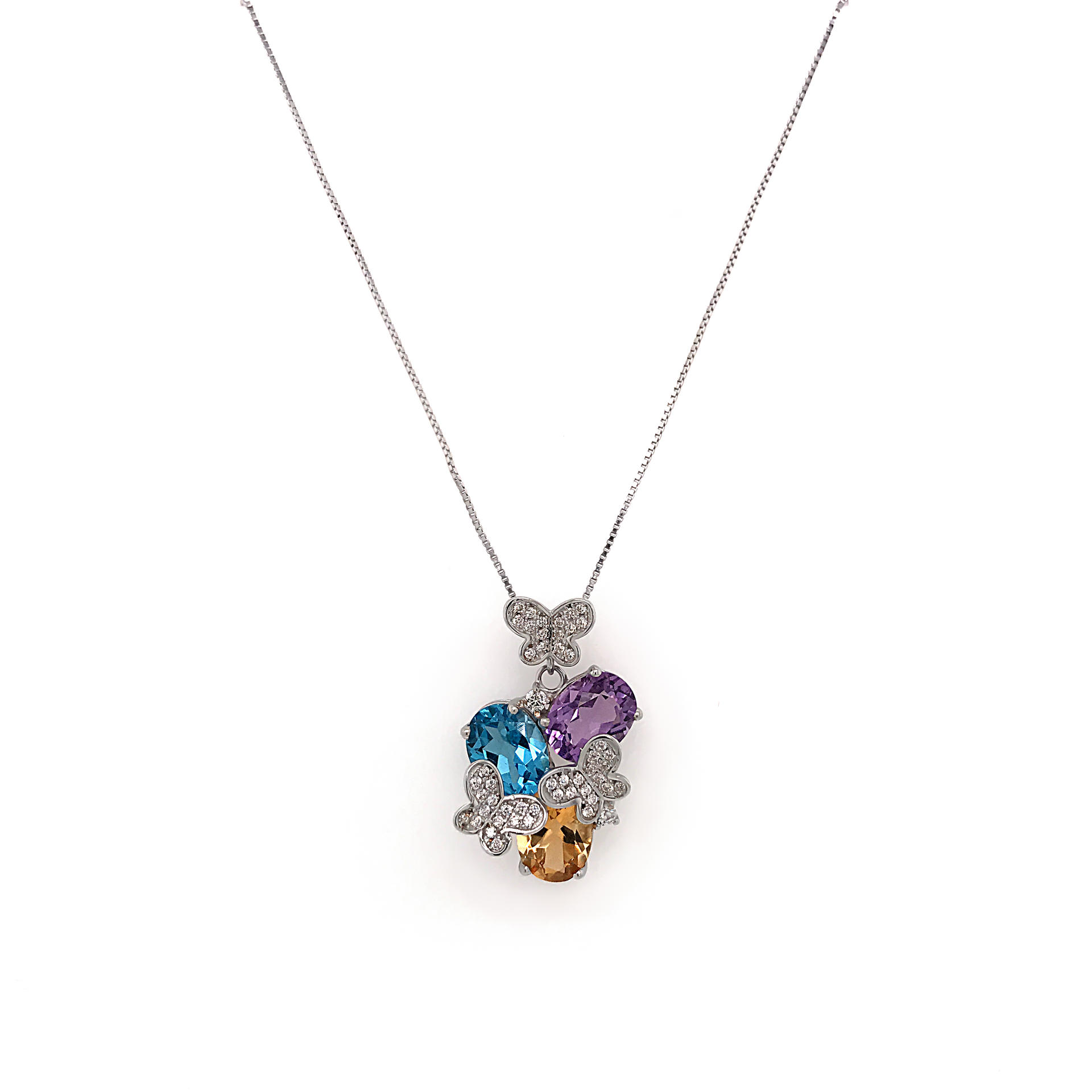 Delicate Three Color Big Gemstone Butterfly Turquoise Flower Necklace