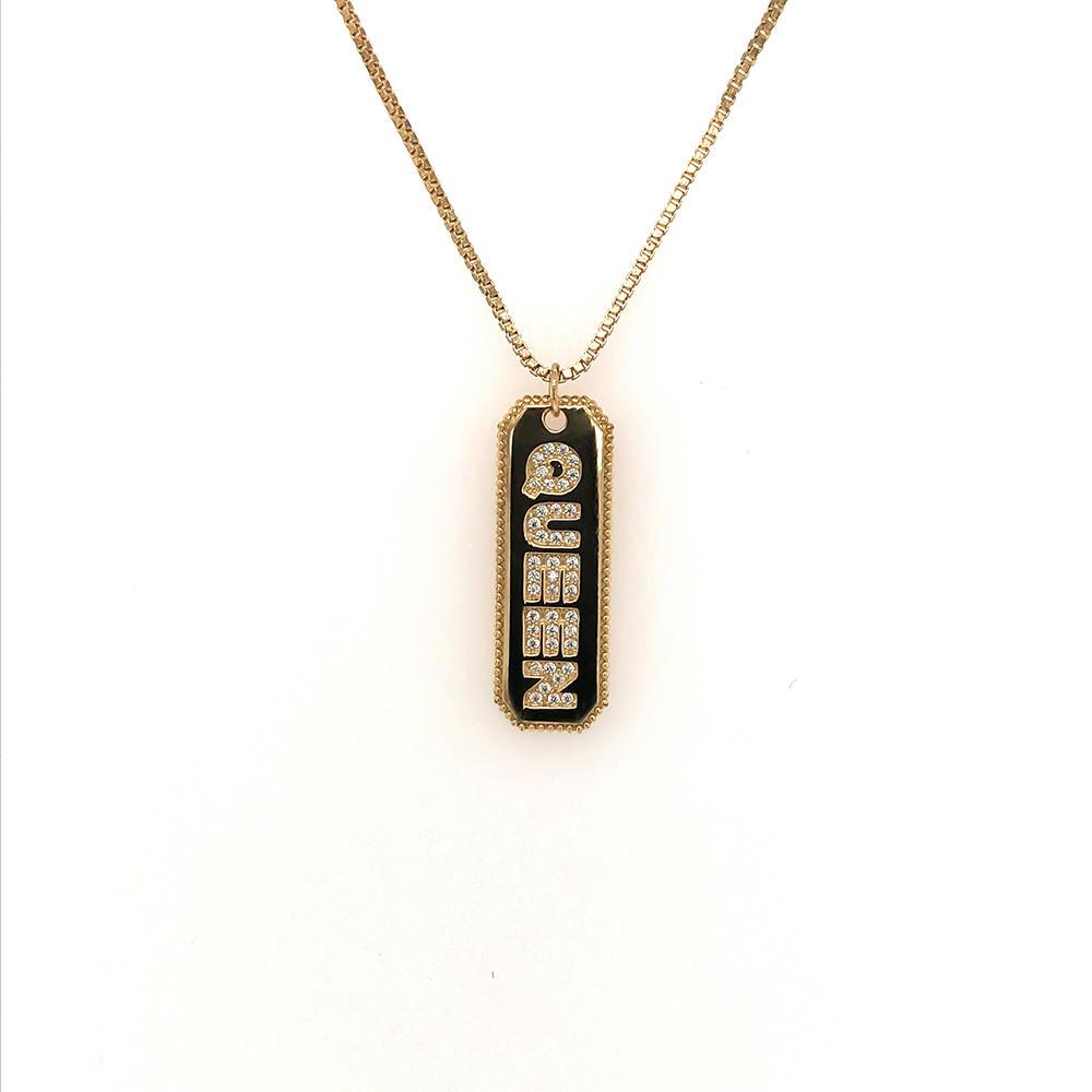 Golden Cz Queen Letter Geometric Design Vertical Nameplate Necklace
