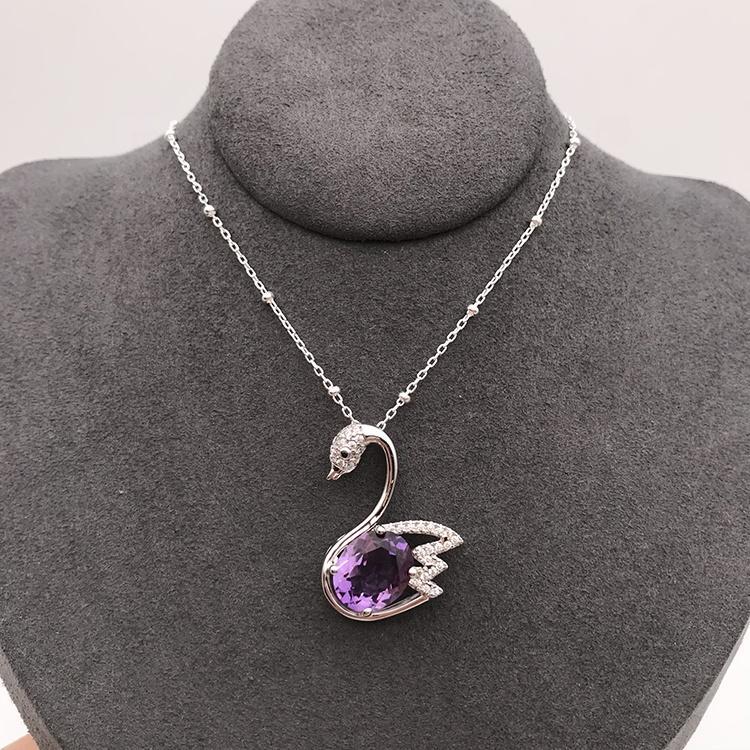Swan Designed Gemstone Animal Pendant, Animal Designed Charm Jewelry, Fashion Purple Crystal Goose Pendant Necklace
