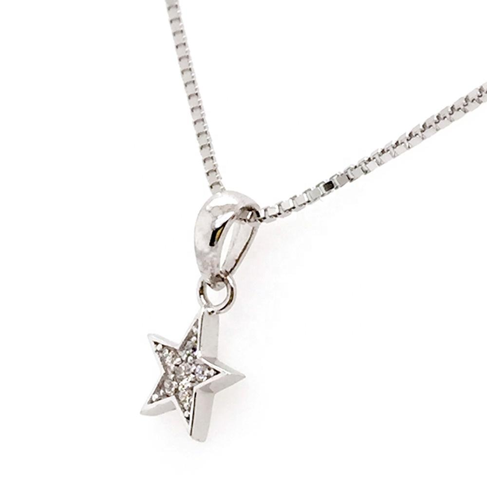 Classic Style Small Stone Star Shaped Charm Pendant Box Chain Necklace