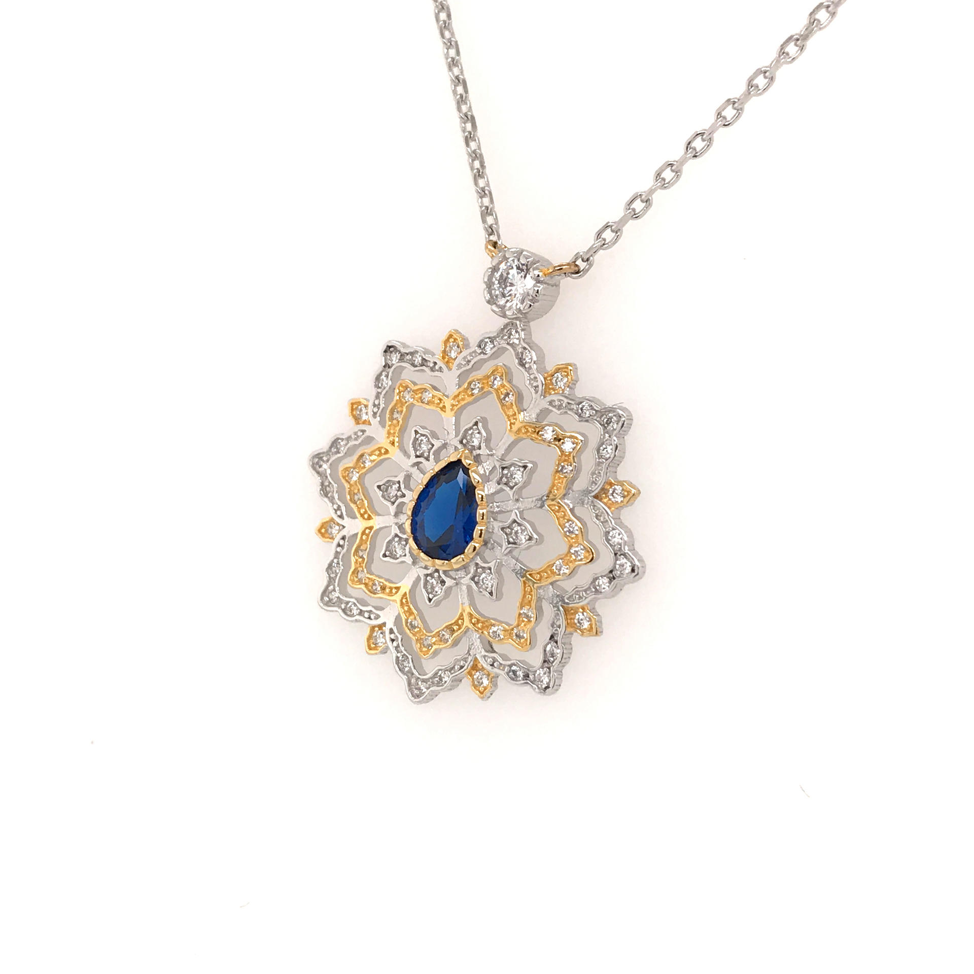 Silver And Gold Plating Four-Layer Flower Design Pendant Necklace Women