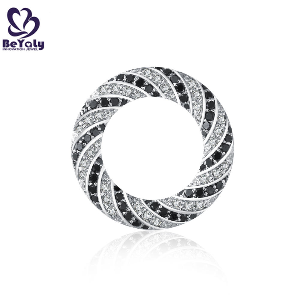 Sun shape hollow design black and white cz silver jewelry