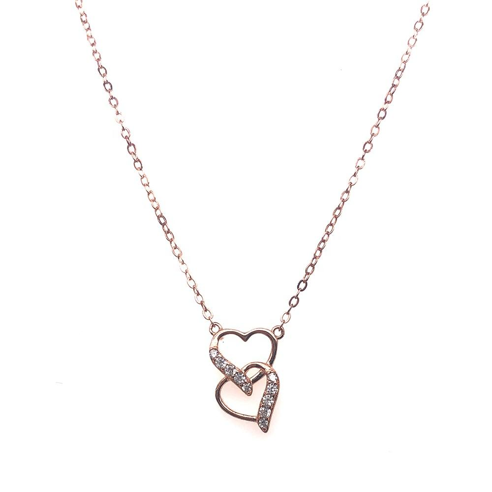 Wholesale CZ Heart Linked To Heart Bridal Accessories Jewellery Rose Gold Necklace