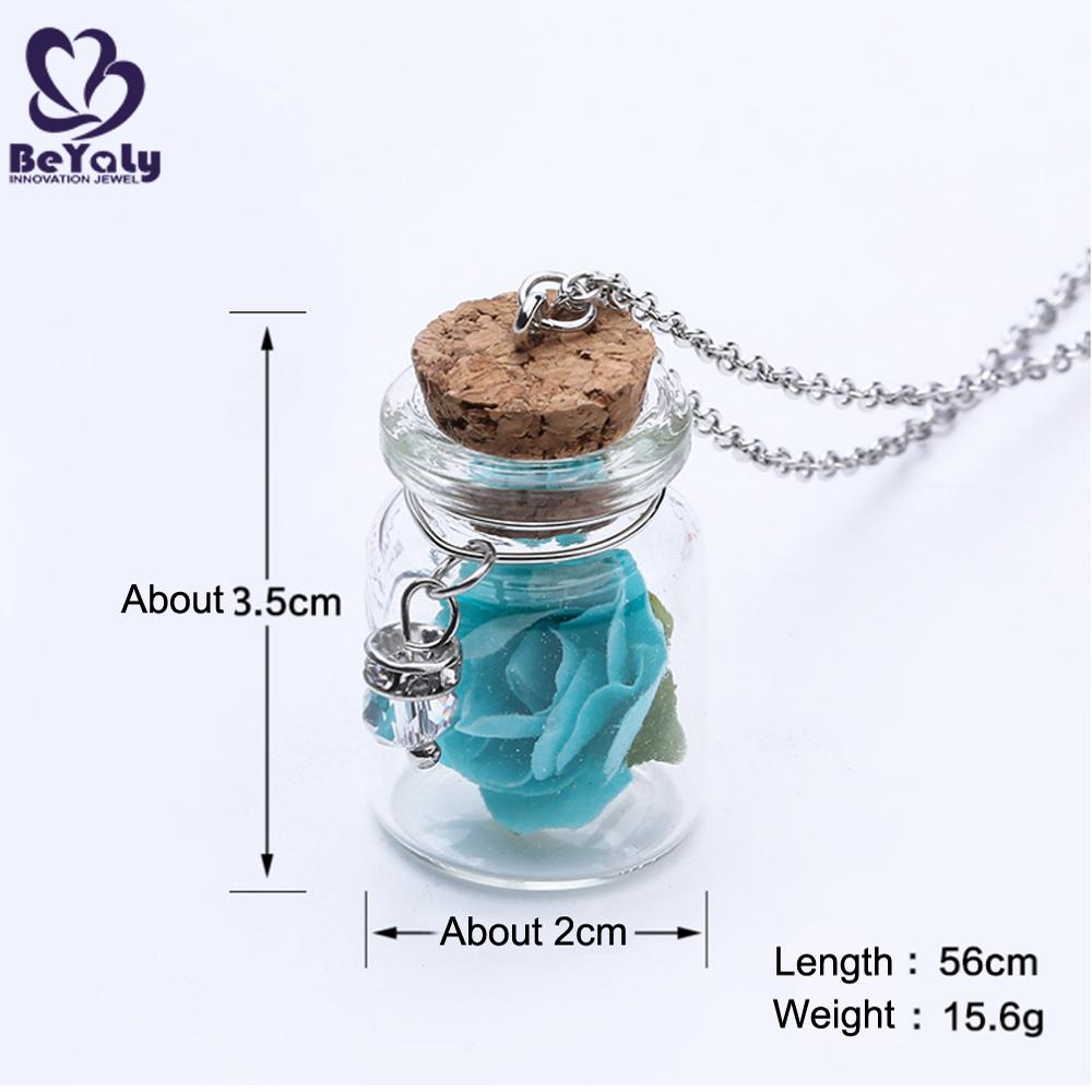 Glass Bottle Custom Women Pendant Jewelry Fashion Real Rose Necklace