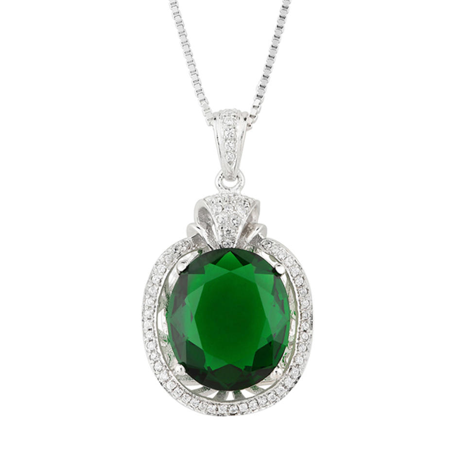 Shiny Silver Aaa Cz Green Stone Jewelry Necklace Women