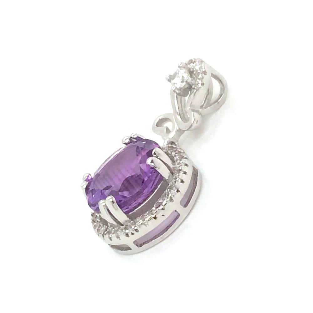 Round Plain Pendant Chandely Charm Purple Gemstone Jewelry, Round Purple Crystal Pendant Necklace Display