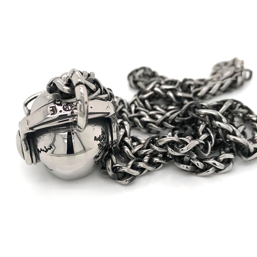 Skeleton Men Necklace Stainless Steel, Skull Stainless Steel Cuban Link Chain Necklace Custom