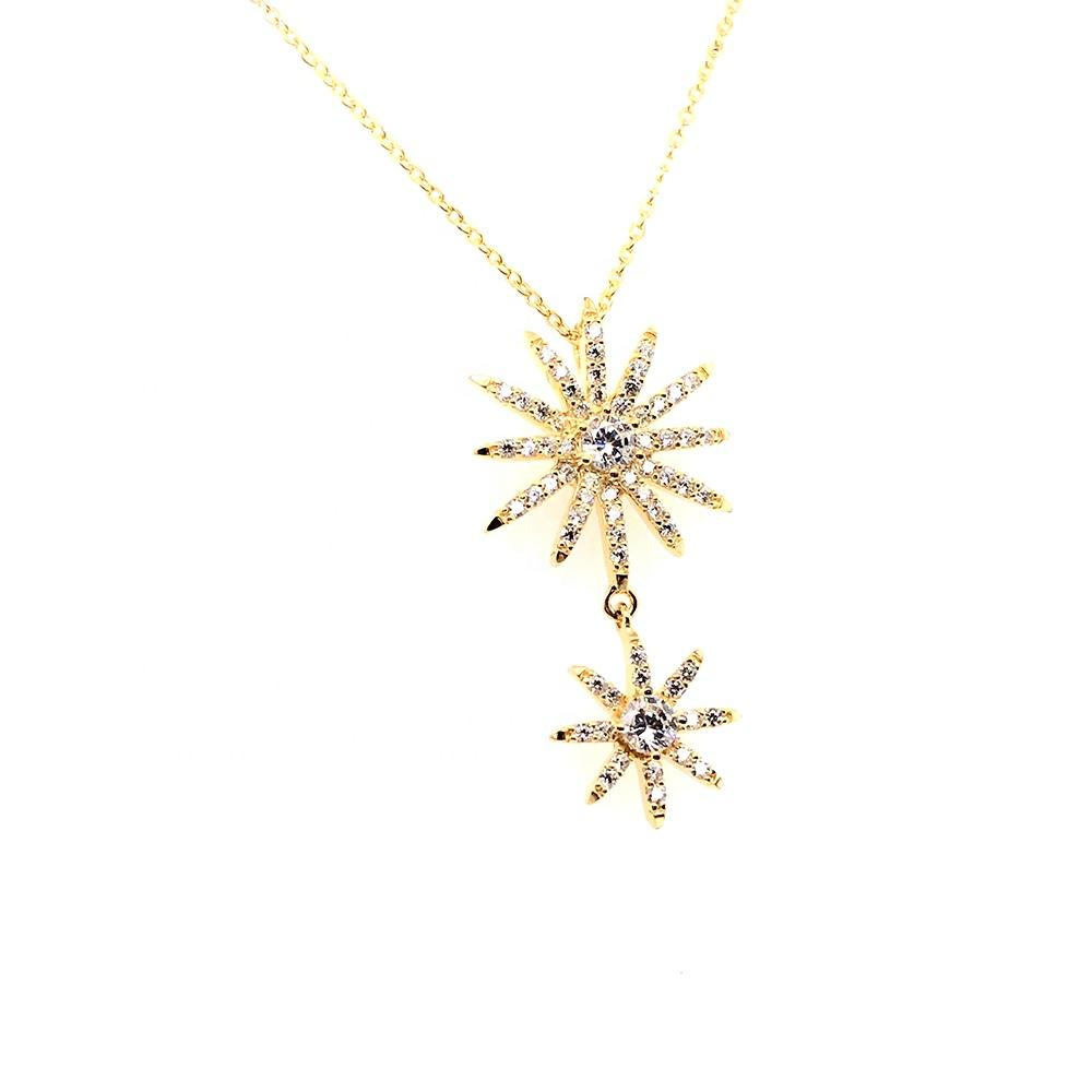 Two Full Cz Star Sun Shape Design Gold Jewellery Made In China Necklace