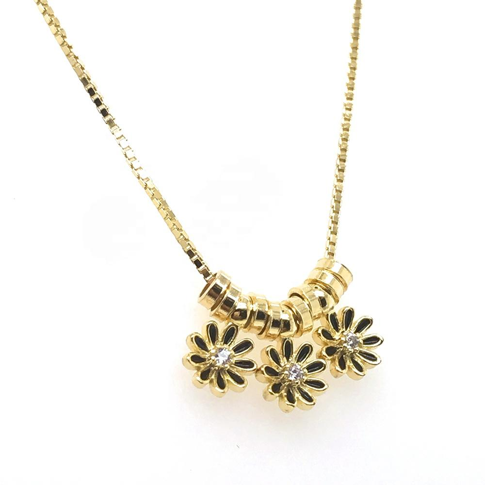 New Design Slideable Circle And Enamel Cz Flower Beads Gold Chain Necklace