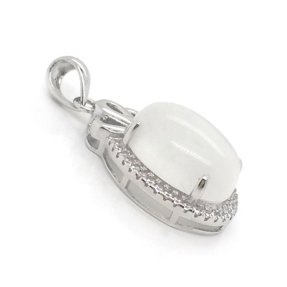 White Gold Plating Crystal Ballerina Big Oval Stone Pendant Necklace, Onyx Jewelry White Gold Diamond Necklace
