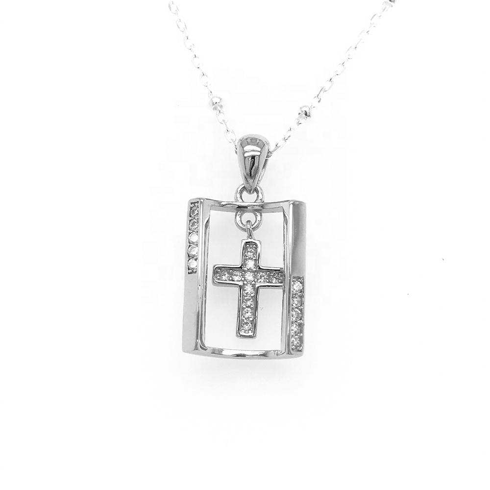 White Gold Plated Crystal Cross Pendant, Religious Cross Jewelry, Sterling Silver Diamond Cross Pendant Necklace Womens