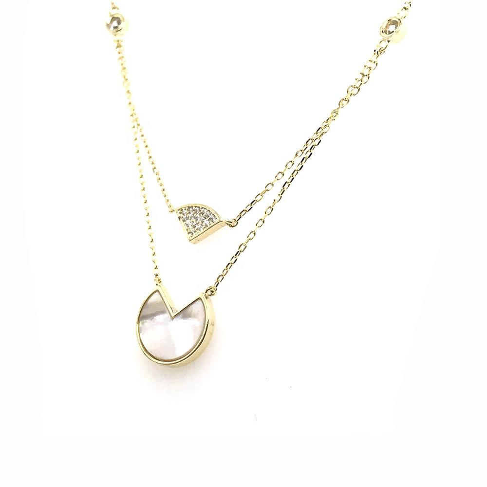 Two Strands Gold Chains Shell Round Cz Fanshaped Design Pendant Necklace