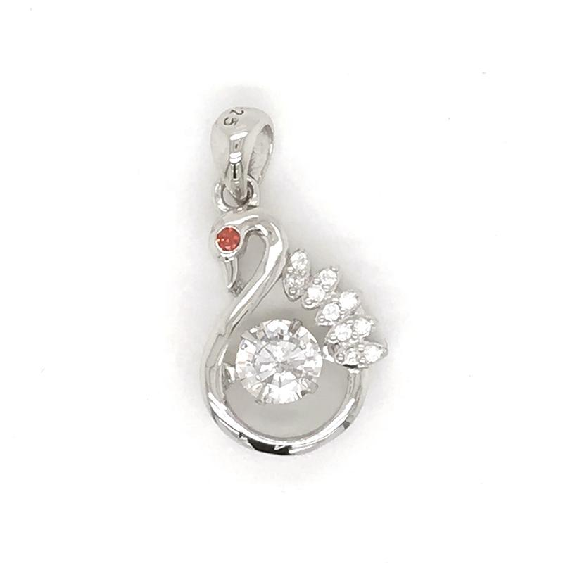 Wholesale Sterling Silver Cage Stone Jewelry Necklace, Dancing Bird Charm Crane Diamond Pendants Necklace