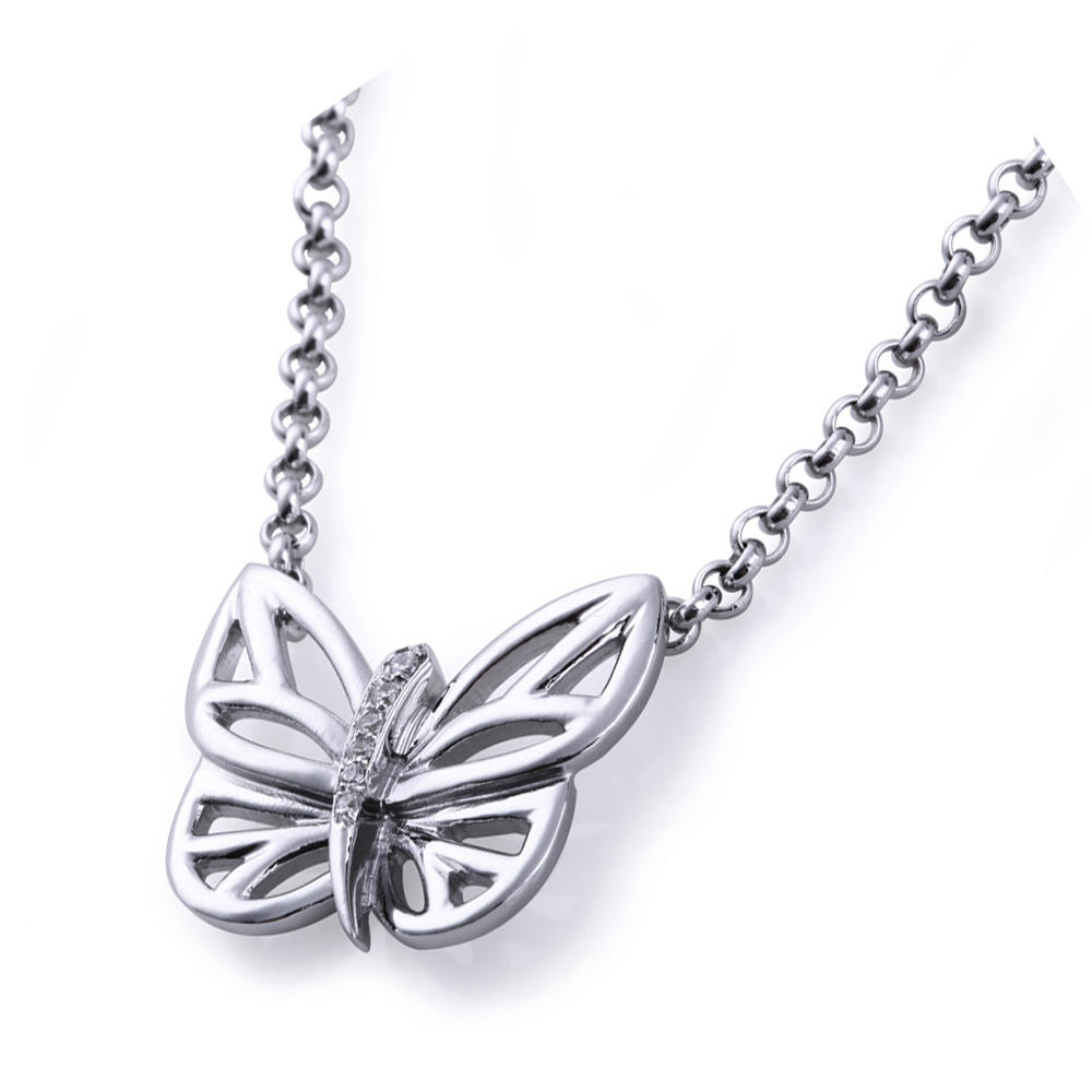 Simple 925 Silver Hollow Design AAA Zircon Butterfly Necklace