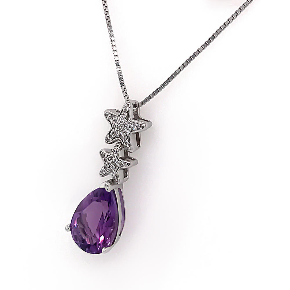 Purple Water Drop Zircon Couple Star Charm Necklace Personalized