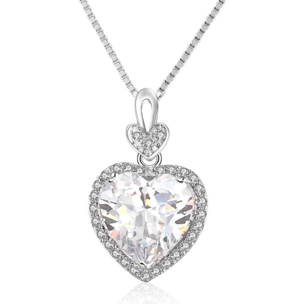 Pink cz heart anniversary silver austria crystal necklace
