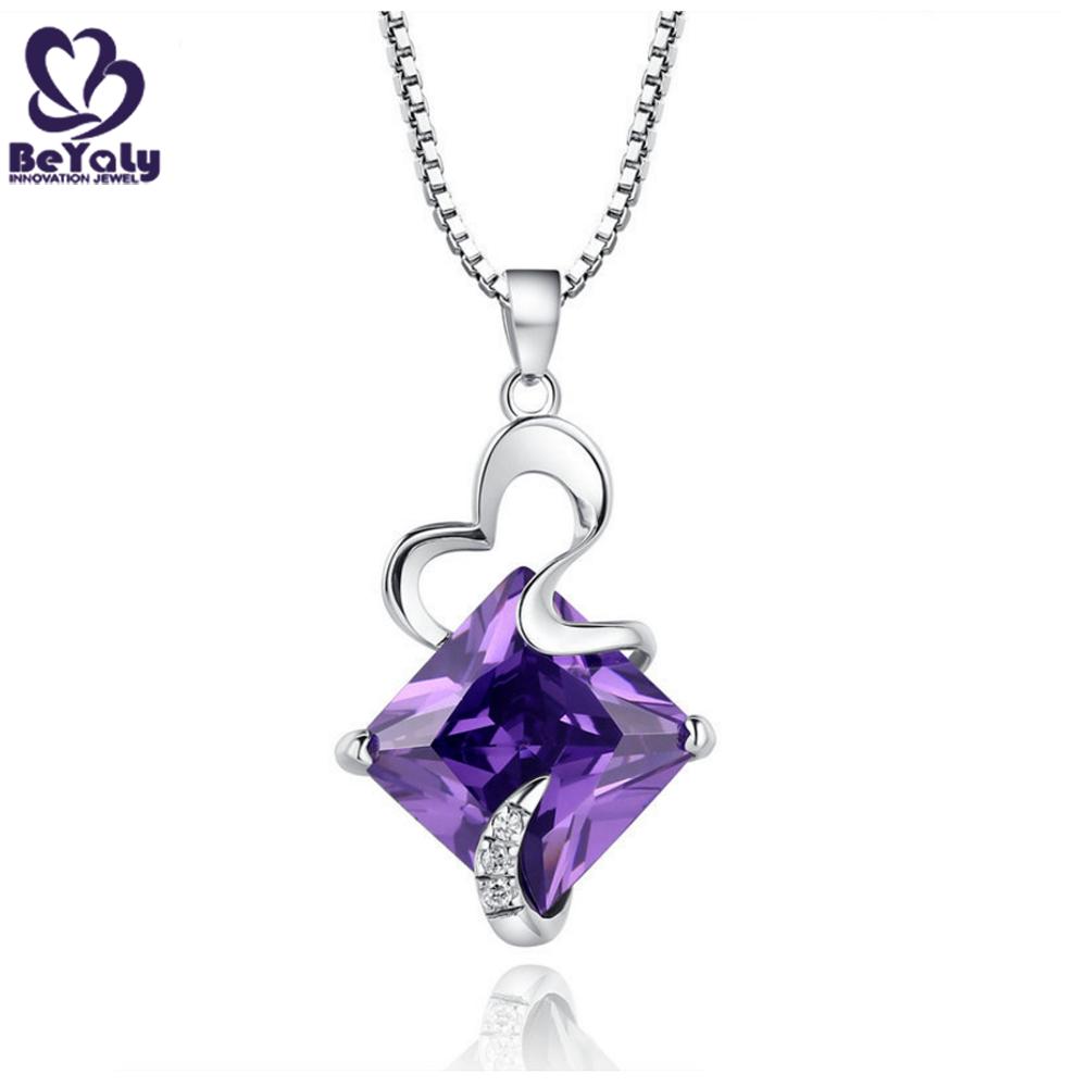 Custom design pink diamond stone necklace 925 silver bisuteria