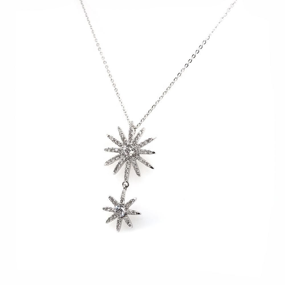 Fashion Star Sun Shape Silver Chain Cz Love And Peace Necklace Couple