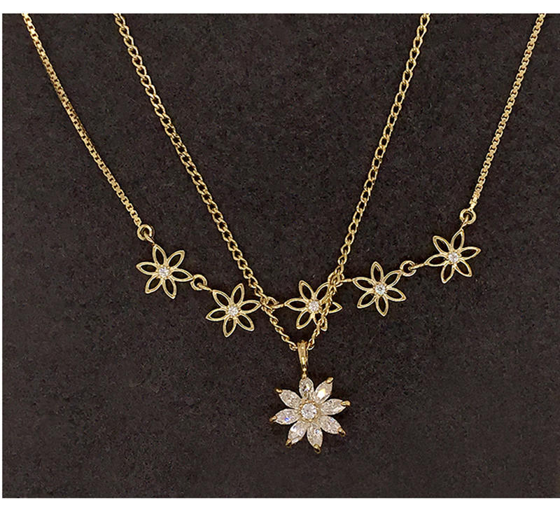 Double Strands Beautiful Gold Plated Cz Flower Design Gold Chains Necklace