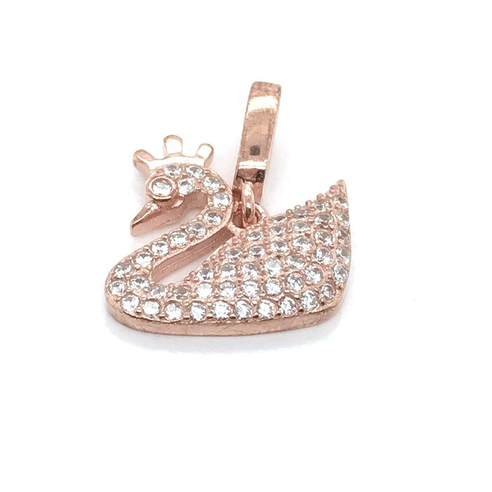 Custom 18K Rose Gold Cz Swan Charm Necklace, Rose Gold Swan Pendant Necklace Jewelry