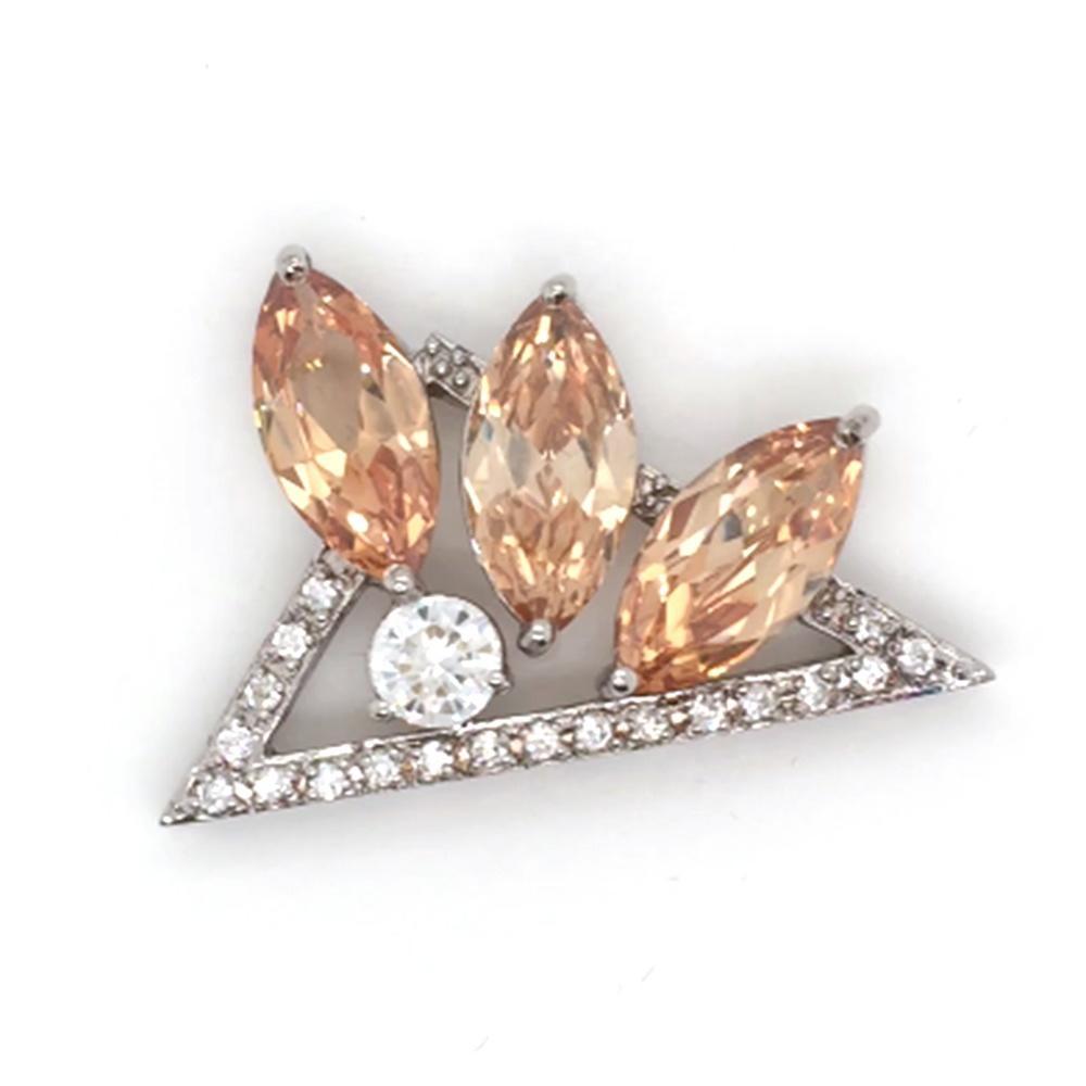 Geometric Eye Shape Orange Crystal Triangle Clear CZ Necklace