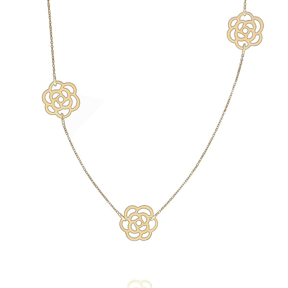 Gold rose flower design silver jewelry ribbon choker necklaces