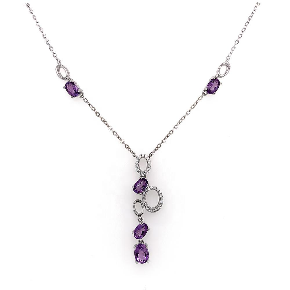 A String Of Bubbles Design Necklace, Oval Shape Violet Gemstones Silver Jewelry Female