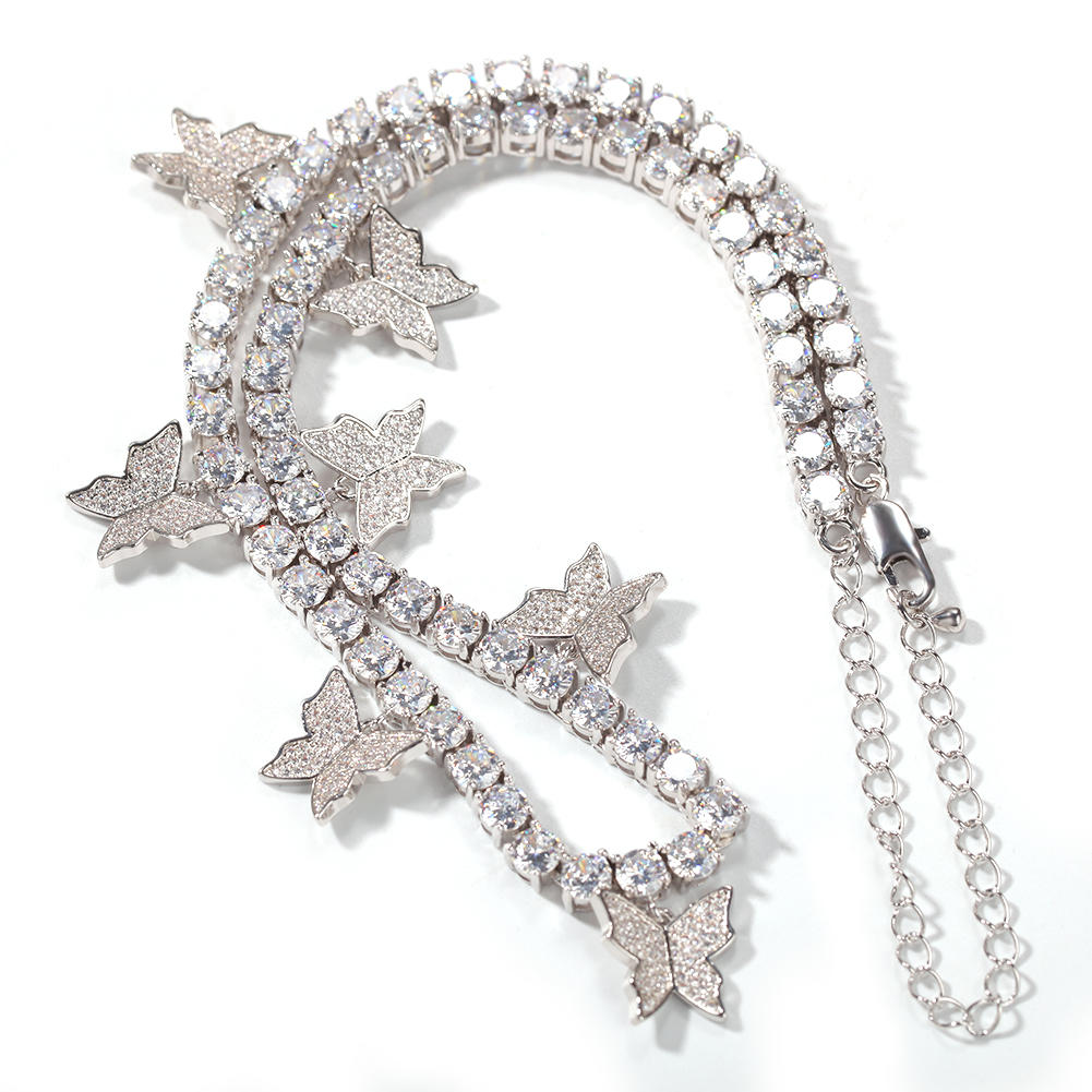 Hip Hop Creative Zircon Tennis Chain Butterfly Necklace, High Quality Fashion Clavicle Chain