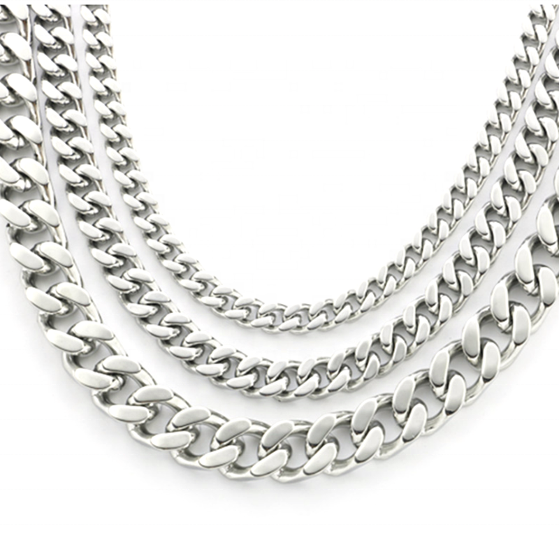 Single Buckle Double Ground Stainless Steel Curb Chain Necklace For Men And Women