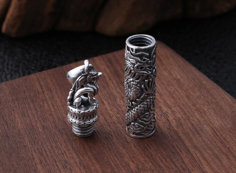 Delicate Detachable Cylinder Dragon Design Silver Mens Jewelry Necklace
