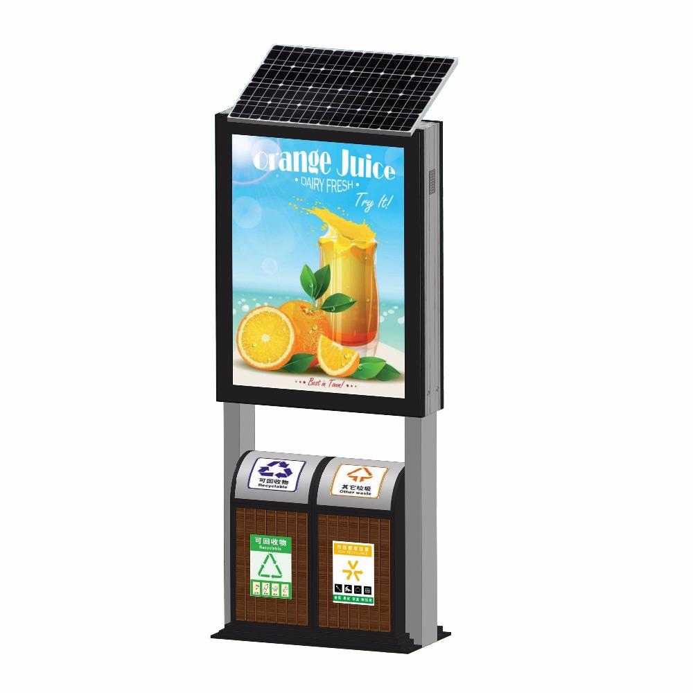 High quality advertising solar light box with trash can