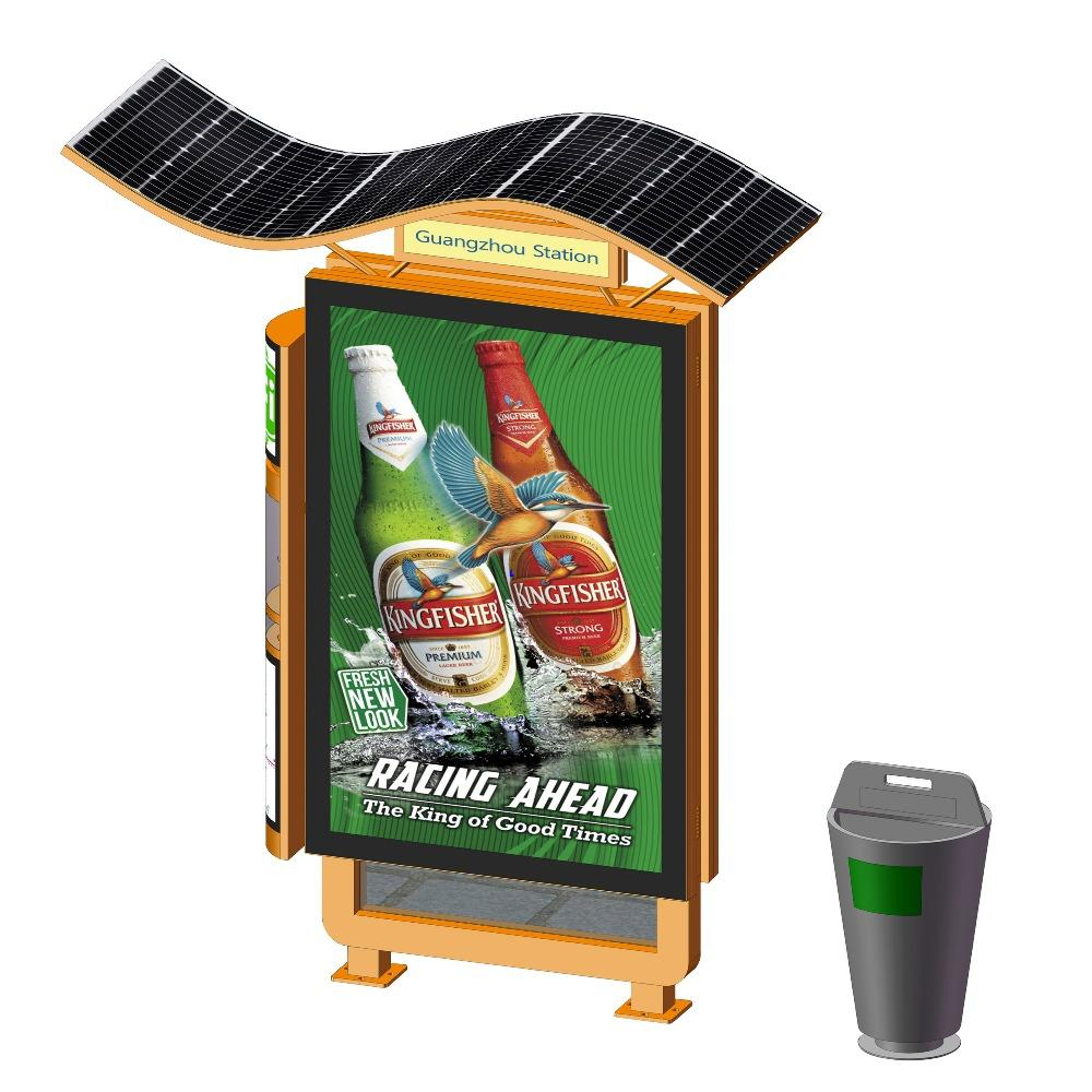 Energy saving solar power light box with trash bin