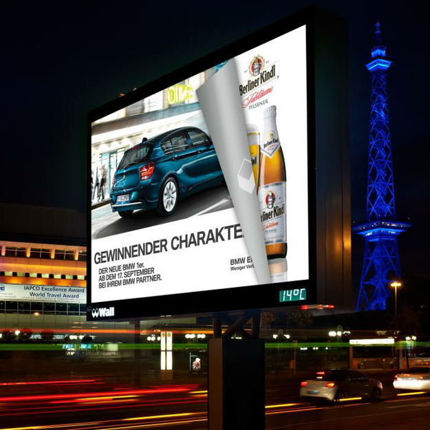 Outdoor rotating posters advertising scrolling billboard