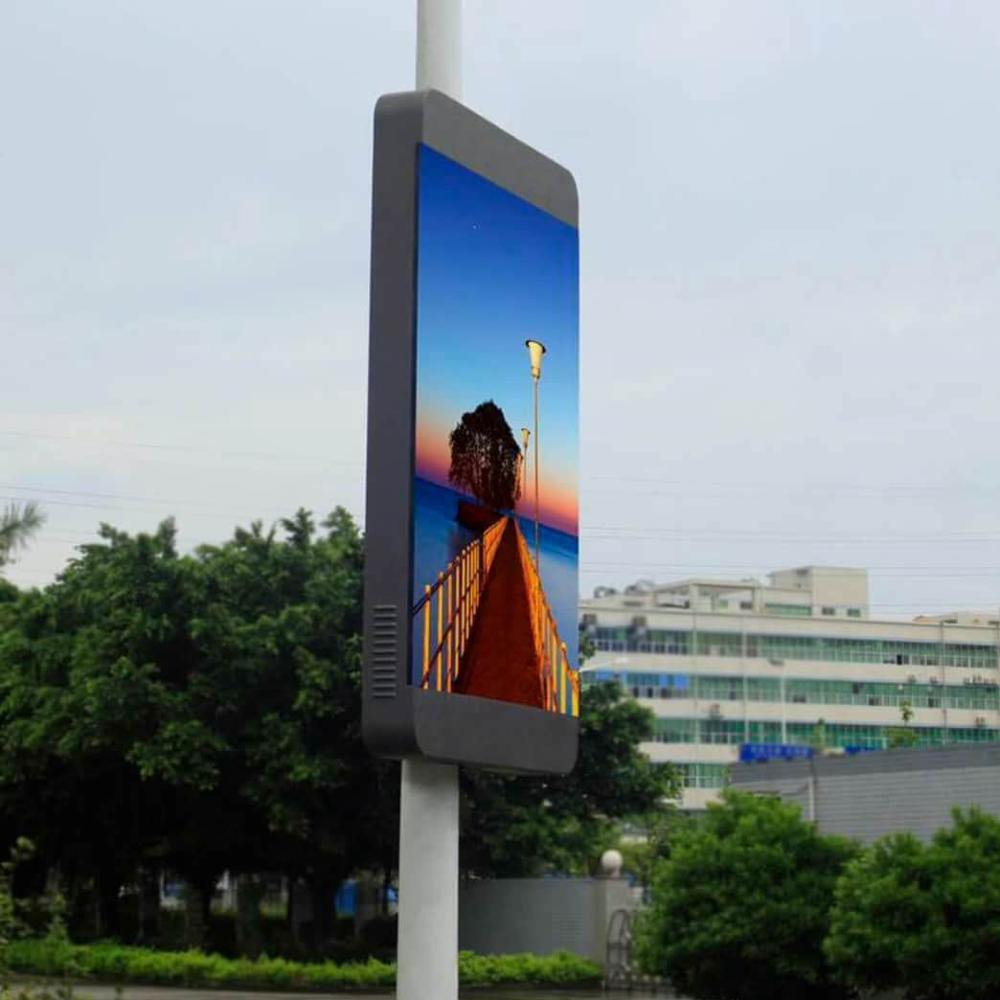 Lamp post led screen display stree pole advertising frame