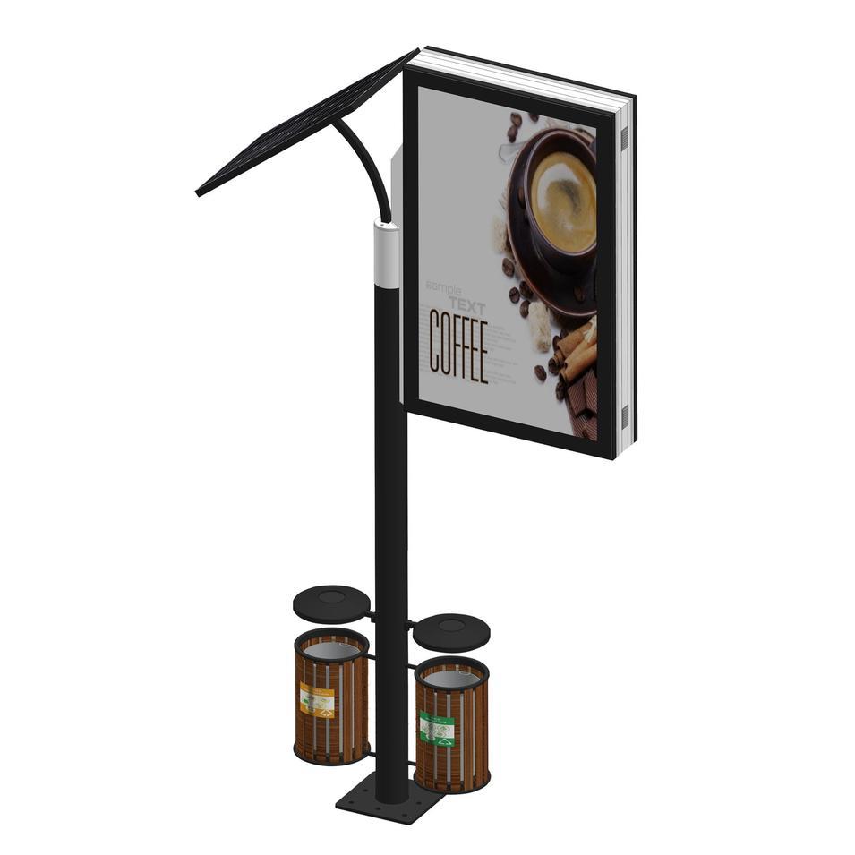 Outdoor solar power lamp light box with trash bin